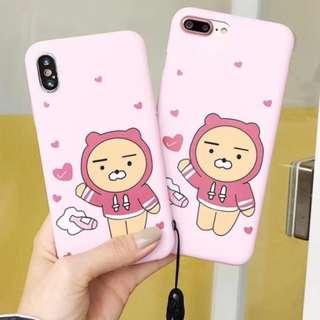 手機殼IPhone6/7/8/plus/X : Kakao粉色小熊全包邊軟殼