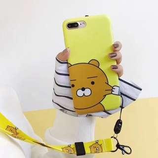 手機殼IPhone6/7/8/plus/X : Kakao黃底Ryan小熊全包邊軟殼