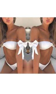 Off shoulder white bow tie two piece