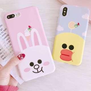 手機殼IPhone6/7/8/plus/X : Linefriends小兔黃鴨全包邊磨砂軟殼