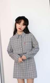 正韓格紋襯衫裙子套裝