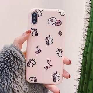 ^手機殼IPhone6/7/8/plus/X : 少女粉底獨角獸全包邊軟殼