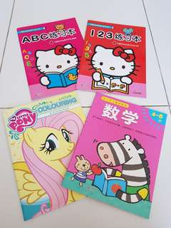 Hello Kitty 1 2 3 A B C Learning Book My Little Pony Colouring Activity Book  Age 4 - 5 Math Book . Free Frozen Activity Game & Stickers With Colouring Pencils. Selling As A Set