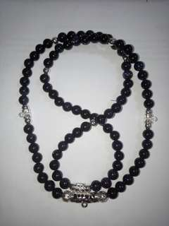 Amulet Necklace Customize With 4 Real Silver Hooks, 0.8mm Violet Agate Beads With High Quality Materials.