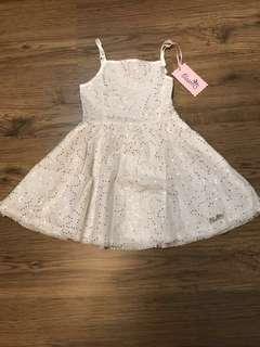 BNIB Bloomb White Lorelle Dress 1-2T
