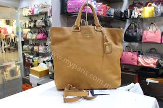Prada BN 1713 Ambra Vitello Daino Leather Large Shopping Tote