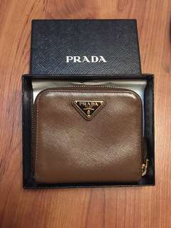 Authentic Prada Saffiano Brown Leather Wallet