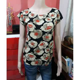 Ladies floral black beige orange blouse tops shirt