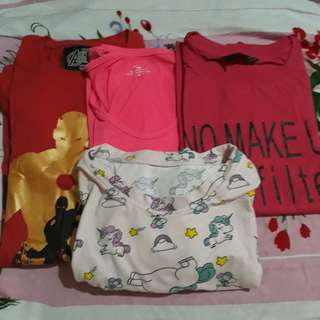 Bundle of 4 red and pink