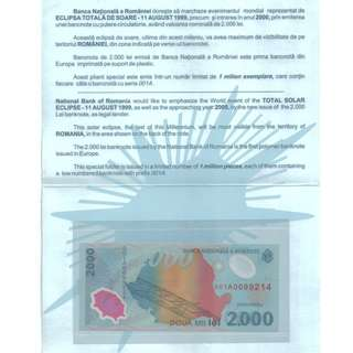 ROMANIA Commemorative Polymer Banknote with Folder UNC 2000 lei 1999 罗马尼纪念钞