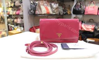Prada BT1009 Peonia Saffino Venic Lux Crossbody Bag