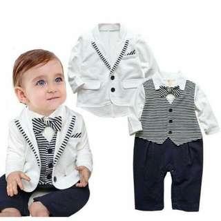 Baby Gentleman Longsleeves Tuxedo with Coat (White)