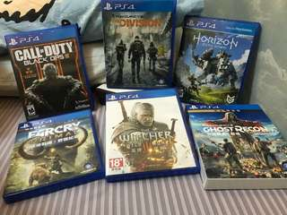 PS4 Witcher 3 $200, Farcry Primal/ Division/地平線(sold)/call of duty/ Ghost Recon each $120