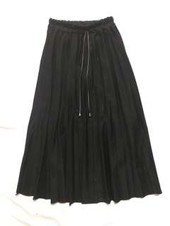 Long Black Pleated Skirt w/ Free Shipping