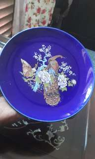 vintage cobalt blue peacock display plate japan
