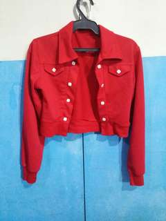 Preloved red crop top jacket