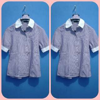 Atasan Lengan Pendek Purple Garis2 -kode AT 063