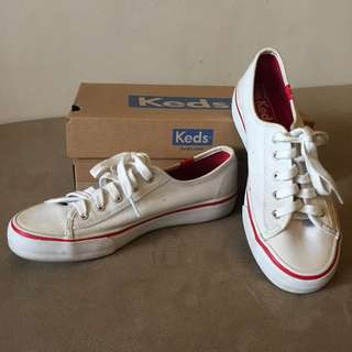 Authentic Keds White and Red With Extra Red Lace and original box- Size 5.5