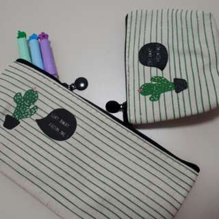 Canvas pencil case with small coin pouch
