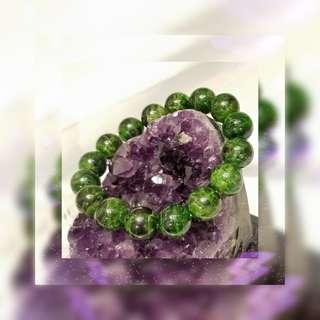 原產地 意大利 天然優質 13.6mm 綠透輝半寶石光面圓珠手串 一條 JB-60
