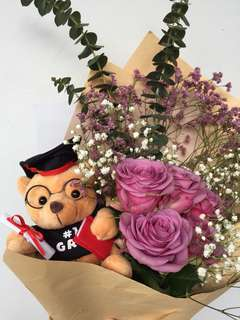 Graduation Rose Bouquet with bear