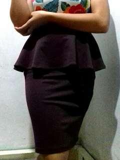 Peplum Skirt (Maroon)