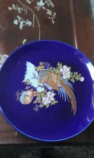 vintage cobalt blue Japanese decorative display plate