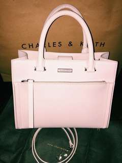 Charles & Keith Pink Front Zip Structured Bag