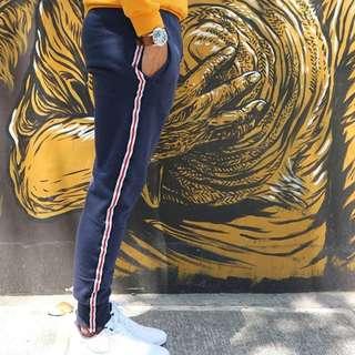 Navy Blue Track Pants Side Stripes