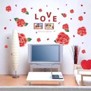 3D L.O.V.E and Roses Wall Decals
