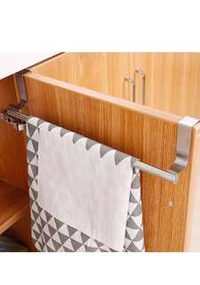 36cm Stainless Steel Over Kitchen Wall Cabinet Door Towel Holder Hanger Hanging Hook Rack Bar Storage Pothook Multi-functional Multipurpose Organizer Traceless Bathroom Cupboard Scarf Clothes