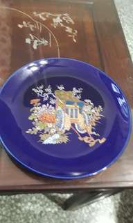 vintage cobalt blue Japanese decorative plate