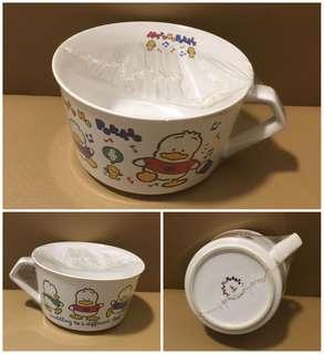 ** 分享 ** Sanrio Ahiru No Pekkle 鴨仔 1990 年 罕有 6 吋直徑有耳陶瓷大湯杯 (Made in Japan)