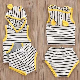 Instock - 2pc yellow stripe set, baby infant toddler girl children sweet kid happy abcdefgh so pretty