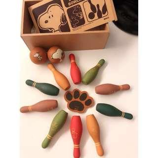 🚚 Snoopy復古木質玩具 Bowling game 收藏款 正版 保齡球遊戲