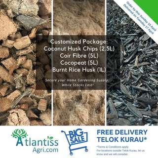 Cocopeat / Coconut Husk Chips / Coir Fibre / Burnt Rice Husk - FREE Delivery Telok Kurau