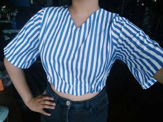 Blue stripes Crop top