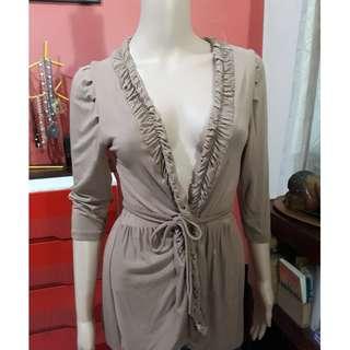 BNEW Imported Nude color waist tie ladies blazer jacket