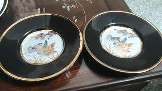 vintage chokin fine arts China Japan decorative plate 24k gold lining copper silver