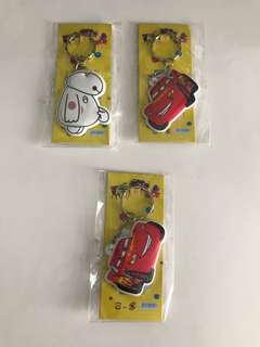 Cars & big hero keychains