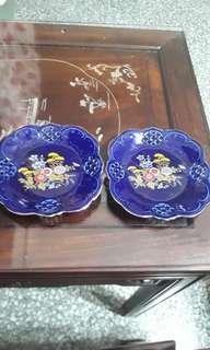 vintage cobalt blue /Japan decorative plate