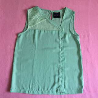 Plains and Prints Light Green Sleeveless Top
