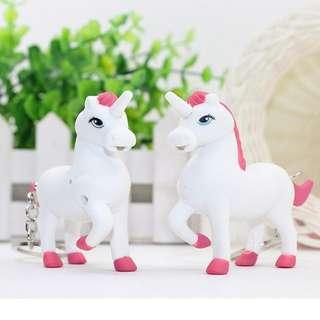 Mini Unicorn Keyrings Horse Key Buckle Finger Jewelry Kids Toys LED Key Chain