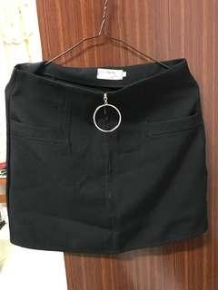 圓環拉鍊半身裙 短裙 高腰裙