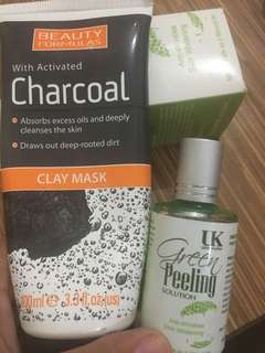 Charcoal Clay Mask and Green Peeling Splution