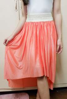 Pink polka dot hi-low skirt