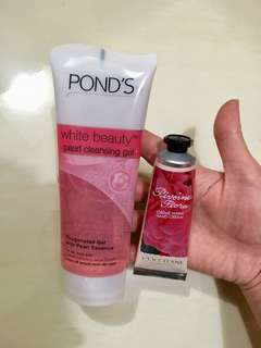 L'occitane hand cream & ponds white beauty pearl cleansing gel