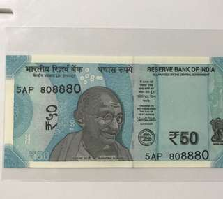 Nice lucky no 80 88 80  indian new 50 Rupees Note