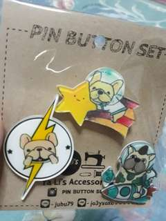 Dog pin buttons