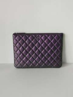 Authentic Chanel O Case Iridescent Purple